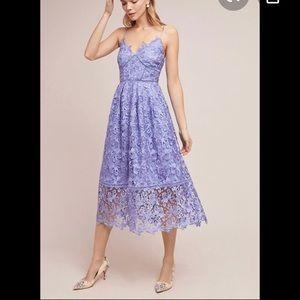 Anthropologie Lilac Lace Midi Dress